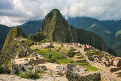 Inca citadel Machu Picchu in Peru. In 2007 Machu Picchu was voted one of the New Seven Wonders of the World royalty free stock photo