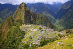 Inca citadel Machu Picchu in Peru. In 2007 Machu Picchu was voted one of the New Seven Wonders of the World royalty free stock photography