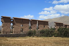 Inca construction. View of the countryside with the remains of Inca buildings - Peru , near Cusco Stock Image