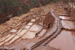 Maras salt mines Stock Photos