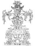 Inca design. Black and white illustration Stock Images