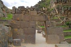 Inca doorway at the ruins of Ollantaytambo, Peru Stock Photos