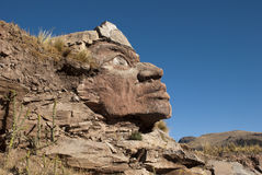 Inca Face. Huge Inca Face on the mountain, Peru stock photography
