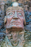 Inca face sculpture peruvian Andes Puno Peru Stock Photo