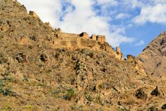 Inca fortress in Sacred Valley, Ollantaytambo Royalty Free Stock Image