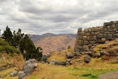 Inca fortress Saksaywaman with view on Cusco, Peru Royalty Free Stock Photo