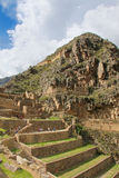 Inca Fortress with Terraces and Temple Hill in Ollantaytambo, Pe Stock Images
