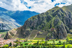 Inca Fortress with Terraces and Temple Hill in Ollantaytambo, Peru. Stock Photos