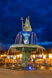 Inca fountain in the Plaza de Armas of Cusco, Peru Stock Photography