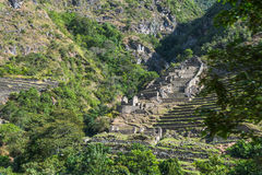 Inca Guardhouse. On the road from Cuzco to Machu Picchu, Andes, Sacred Valley, Peru Stock Photos