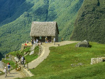 Inca House Caretaker in Machu Picchu Stock Images