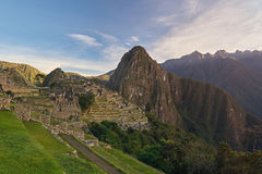 Inca machu picchu ancient town. Heritage old peruvian village royalty free stock photography