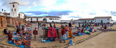 Inca Market in Chichero, Peru stock photography