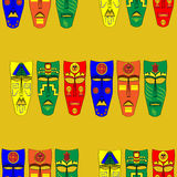 Inca masks. Seamless background pattern. Vector illustration Royalty Free Stock Photo