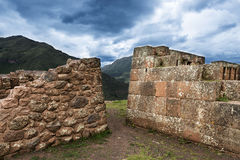 Inca masonry detail of walls at Pisac, Peru Stock Images