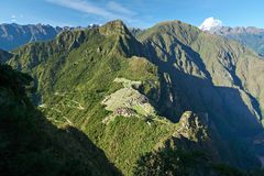 Inca old Machu picchu town. On mountain bird eye view. Above Machu Picchu view on sunny day stock photos