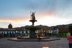 Inca Pachacutec Fountain, Cusco Peru Royalty Free Stock Image