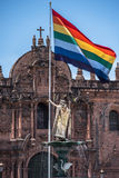 Inca Pachacutec fountain in the Plaza de Armas of Cusco, Peru Royalty Free Stock Images