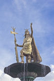 Inca Pachacutec statue. Statue of the Inca Pachacutec over the fountain at the Plaza de Armas in Cuzco, Peru Stock Image