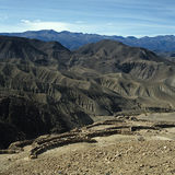 Inca or Pukara fortification. Ancient fortification overlooking Copaquilla valley high up in the Andes, Chile royalty free stock photography