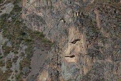 Inca Rock Face en Perú Fotos de archivo
