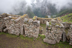 Inca Ruins. Ruins of Inca House with Beautiful Valley View at Machu Picchu Royalty Free Stock Photography