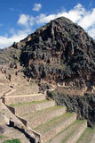 Inca Ruins. Incan hillside fortress at the town of Ollantaytambo in the Sacred Valley of the Incas (Peru stock photos