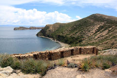 Inca ruins. And coast of island Isla del Sol, Bolivia Stock Images