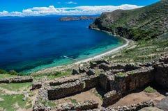 Inca Ruins av Isla del Sol, Bolivia royaltyfri bild