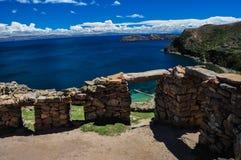 Inca Ruins av Isla del Sol, Bolivia fotografering för bildbyråer