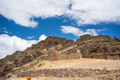 Inca ruins and buildings in Pisac, Sacred Valley, Peru Stock Photos