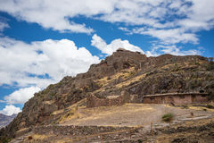 Inca ruins and buildings in Pisac, Sacred Valley, Peru Royalty Free Stock Photography