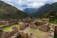 Inca Ruins i Pisac, Peru fotografering för bildbyråer