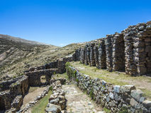 Inca Ruins of Isla del Sol, Bolivia. With view to lake Titicaca Stock Photography