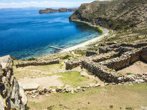 Inca Ruins of Isla del Sol, Bolivia. With view to lake Titicaca Royalty Free Stock Photography