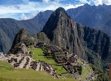 The Inca Ruins at Machu Picchu stock images