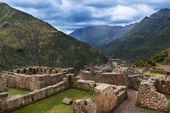 Inca Ruins near Pisac, Peru. View of Inca Ruins near the town of Pisac in the Sacred Valley, Peru Stock Photo