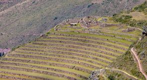 The  Inca Ruins in Pisac. The  Inca Ruins in the Pisac archaeological site in the Sacred Valley Located in Southern Peru stock photography