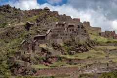 The  Inca Ruins in Pisac. The  Inca Ruins in the Pisac archaeological site in the Sacred Valley Located in Southern Peru royalty free stock photo