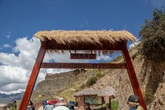 The  Inca Ruins in Pisac. Entrance to the Inca Ruins in the Pisac archaeological site in the Sacred Valley Located in Southern Peru stock images