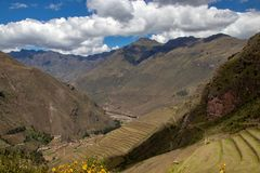 The Inca Ruins in Pisac. The Inca Ruins in the Pisac archaeological site in the Sacred Valley Located in Southern Peru stock photo
