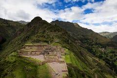 Inca Ruins in Pisac, Peru. View of Inca Ruins near the town of Pisac in the Sacred Valley, Peru Stock Photos