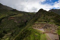 Inca Ruins in Pisac, Peru. View of Inca Ruins near the town of Pisac in the Sacred Valley, Peru Stock Photo