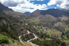 The Inca Ruins in Pisac. View from the Inca Ruins in the Pisac archaeological site in the Sacred Valley Located in Southern Peru royalty free stock image