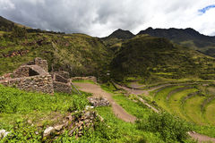 Inca ruins of Pisaq, Sacred Valley in Peru, South America Stock Images