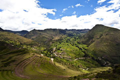 Inca ruins of Pisaq, Sacred Valley in Peru, South America. View at the terraces, ruins and valley of Inca town Pisaq, Sacred Valley (Valle Sagrado) in the Cuzco royalty free stock photography