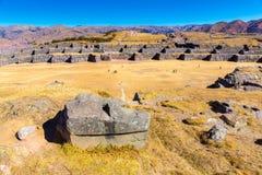 Inca Ruins - Saqsaywaman, Peru, South America. Archaeological complex, Cuzco. Example of polygonal masonry Stock Image