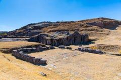 Inca Ruins - Saqsaywaman, Peru, Zuid-Amerika. Archeologische complex, Cuzco. Voorbeeld van veelhoekig metselwerk Stock Afbeeldingen
