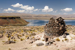 Inca ruins in Sillustani, Titicaca lake, Peru Stock Photos