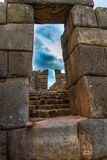 Inca Ruins. A stone doorway in Inca ruins in Peru Royalty Free Stock Photo